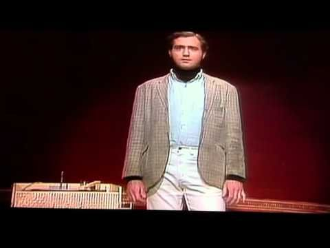 Andy Kaufman's Mighty Mouse (Here I Come to Save the Day) performance.  There are no words....  : )