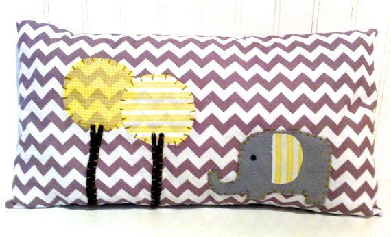 Elephant Pillow/Grey and  Yellow Nursery
