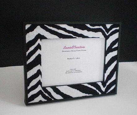ZEBRA PRINT FRAME  5 x 7 Black frame w/ zebra print eco felt by LaurieBCreations