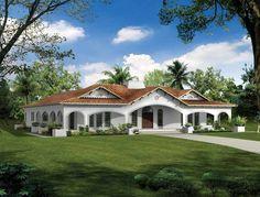 mediterranean style homes with front porch   Plano de Casa de Estilo Español   Solo Planos .com