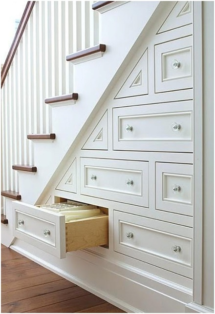 Drawers under the stair. Ideas to maximize the space-- This is brilliant, every house should do something like this!