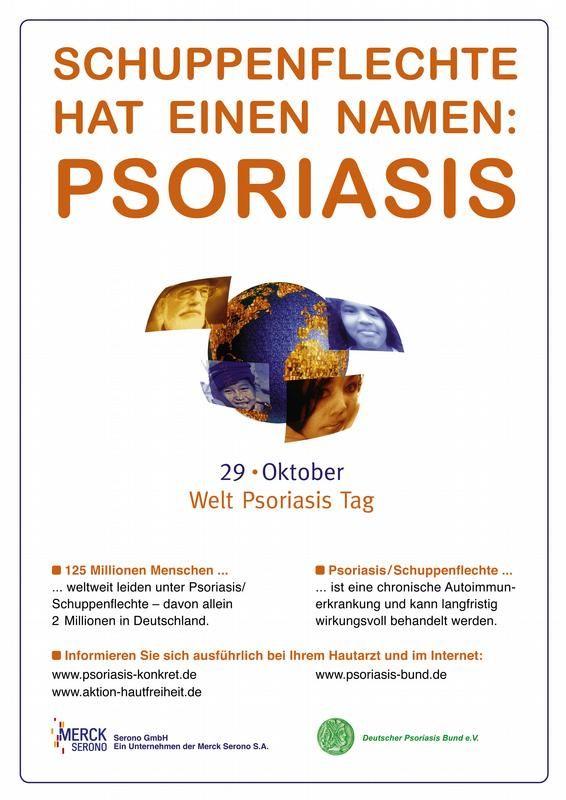 """Das Plakat """"Schuppenflechte hat einen Namen: Psoriasis"""", A4, Color"""