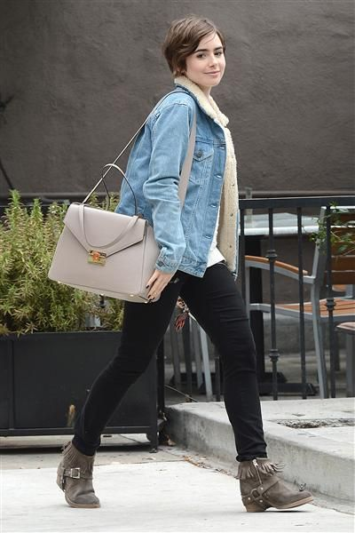 Lily Collins looked stylishly prepared for the colder weather while out in Los Angeles on June 3, 2015. The actress rocked black skinny jeans and a denim jacket, which she paired with fringed ankle boots.
