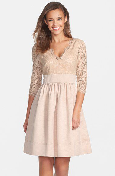 $148 Check out my latest find from Nordstrom: http://shop.nordstrom.com/S/3901891  Eliza J Eliza J Lace & Faille Dress (Regular & Petite)  - Sent from the Nordstrom app on my iPhone (Get it free on the App Store at http://itunes.apple.com/us/app/nordstrom/id474349412?ls=1&mt=8)