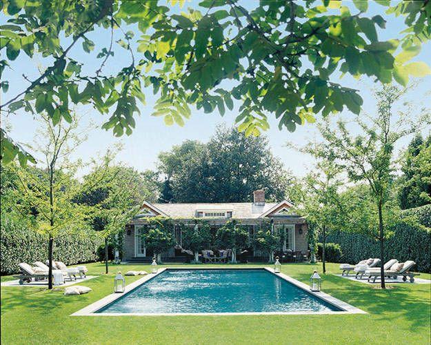 Landscape designer Deborah Nevins compliments her backyard with a beautiful landscaped pool    - ELLEDecor.com