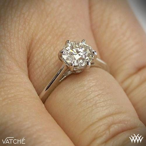 """Classic style awaits you with the Vatche 'Felicity' Solitaire Engagement Ring by Vatche. Part of our Serenity Collection, this exquisite design combines smooth, flowing lines and a beautifully detailed 6 prong head. The Serenity Collection also includes the Vatche """"Inara"""" Solitaire Engagement Ring,"""