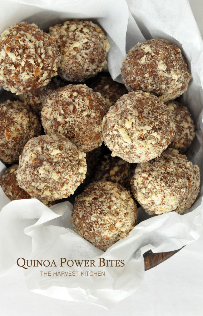 from The Harvest Kitchen / these Quinoa Power Bites are made with dates, almond butter, almonds, cocoa and quinoa flakes. So nutritious and delicious!! I make these often!! @theharvestkitchen.com