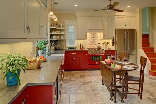 Like the stairs house pinterest cabin spaces and for Bright red kitchen cabinets