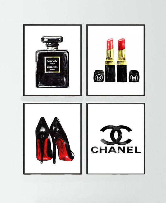 Chanel Noir perfume Set of 4, Chanel painting, Chanel logo print, Christian Louboutin Shoes print, Chanel poster, Chanel warecolor painting