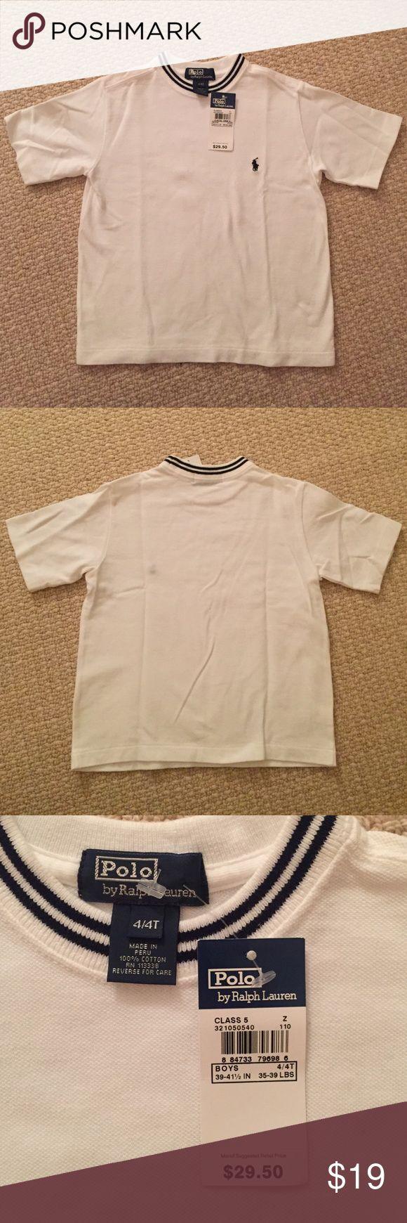 Polo by Ralph Lauren Pique Polo Shirt Sz 4/4T Polo by Ralph Lauren Pique Polo Sz 4/4T. Crew neck tee style, pique fabric. NWT. Navy trim around neck. Love this shirt!!! Polo by Ralph Lauren Shirts & Tops Polos