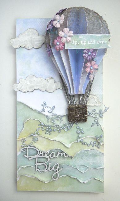 Открытка воздушный шар скрапбукинг, поздравление можно написать