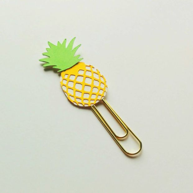 Pineapple paperclip, cute planner accessory, fruit bookmark, tropical page marker, Erin Condren, Kikki k, Filofax