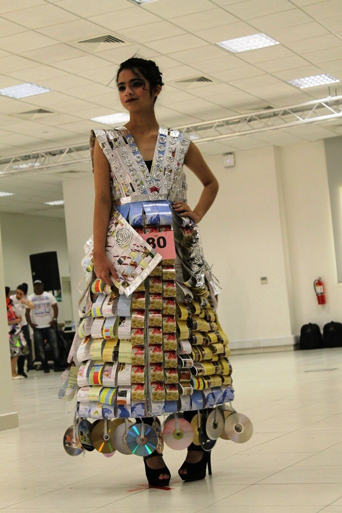 Dress made from discarded materials for Qatar's Eco-Fashion Show on World Environment Day