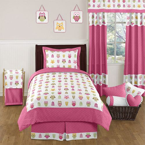 Kids Pink Owl Bedding Twin Comforter Set 4pc Bed in a Bag Collection for Girls