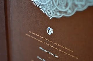 Indian Wedding Invitation in Turquoise blue and Chocolate Brown