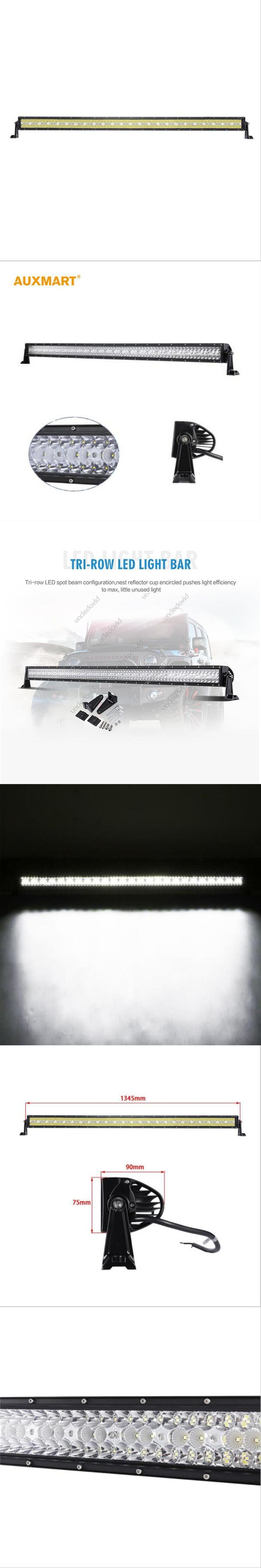 """Auxmart 50"""" LED Car Light Bar 3 Row 576W Offroad Driving Combo Beams fit Pickup Tractor Truck SUV ATV 4X4 Wagon jeep"""