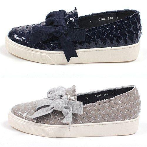 NEW Women Patent  Slip on Shoes Handmade leather Fashion Ribbon Sneakers  #Handmade #FashionSneakers