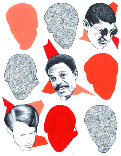 "Variants (Heads Nº 23 / Ayler, Murray, Peacock)  Ink and gouache on paper, 9"" X 12"", 2013 $500"