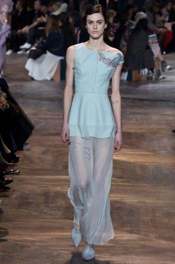 Abito pastello Dior Couture - Abito celeste con gonna trasparente haute couture primavera/estate 2016