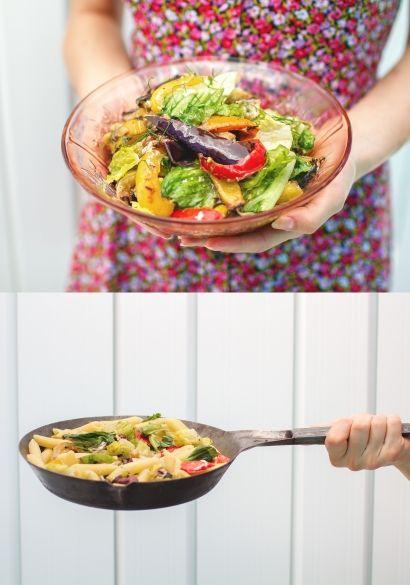 Salade+de+légumes+grillés+qui+se+transforme+en+plat+de+pâtes