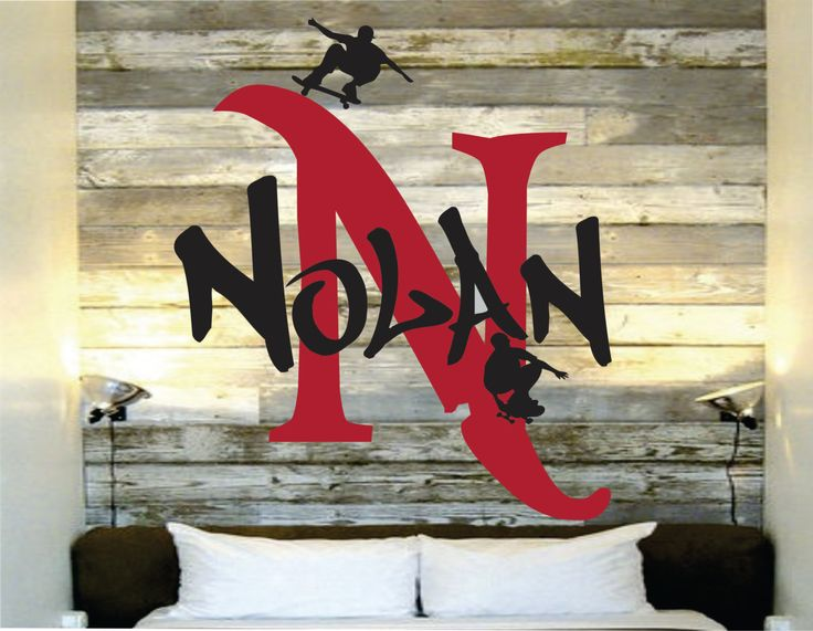 Skateboard Wall Name Decal For Skaters Boys Room by SignJunkies