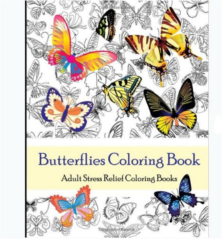 Adults Coloring Book Butterflies Design Art Therapy Stress Relief Patterns Color Adultsbook