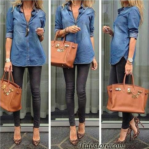 Black skinnis, chambray shirt, and leopard shoes