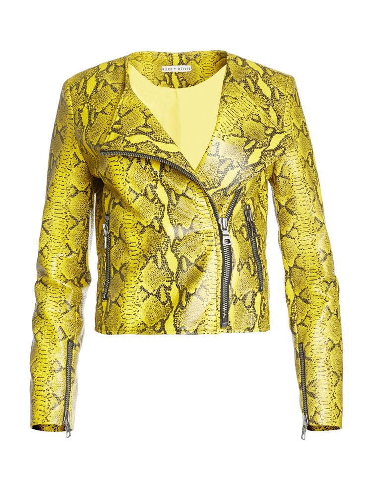 STANTON LEATHER COLLARLESS JACKET by Alice + Olivia