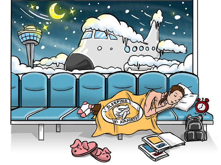 Airport reviews and guides for sleeping in the airport overnight or while stuck in the airport during transit, weather or airline delays.