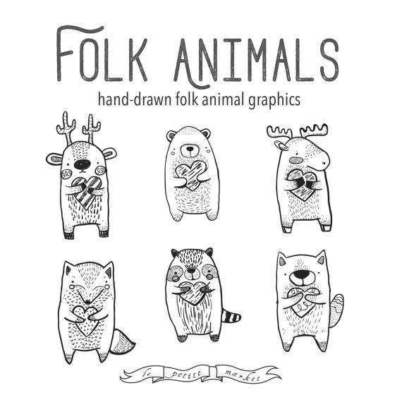 Folk Clipart Animals, Hearts Clipart Vector Graphics, Deer Bear, Moose Raccoon Fox Wolf, Woodland Creature Clipart Clip Art, Folk Animal Clipart