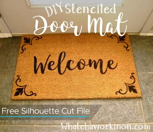 """DIY a """"Welcome"""" door mat with a Silhouette stencil. FREE cut file!"""