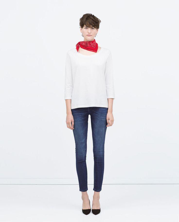 This one....graag ook de magere billen erbij!!!  Image 1 of MEDIUM RISE SKINNY JEANS from Zara