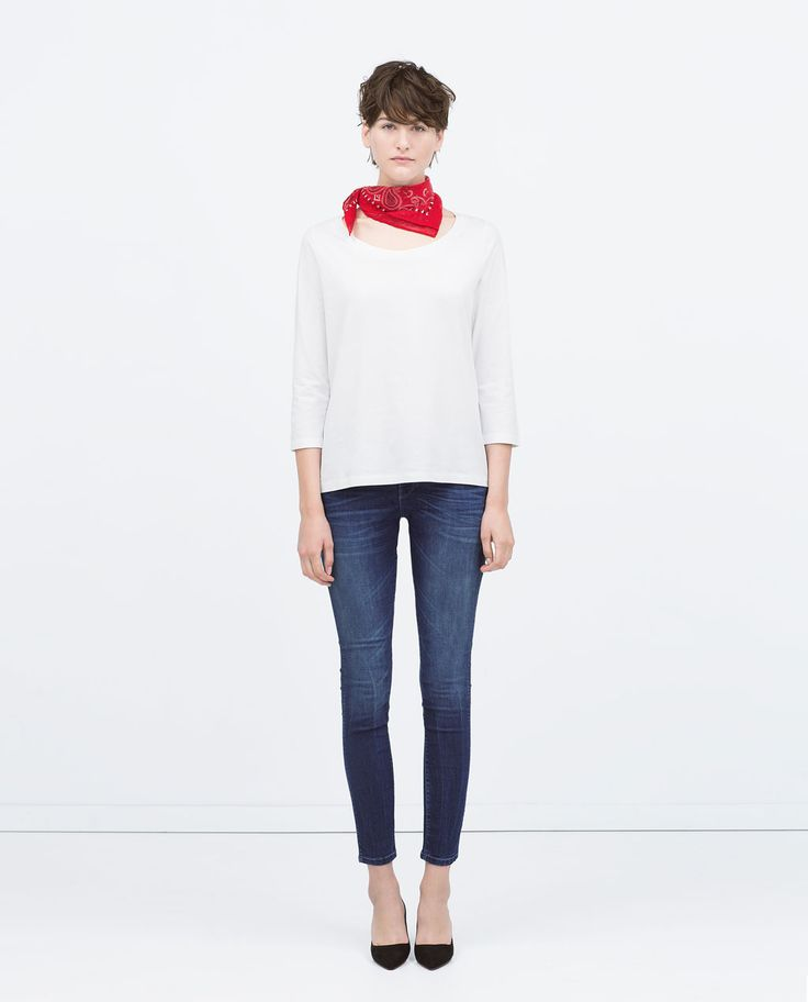 This one....graag ook de magere billen erbij!!!  Image 1 of MEDIUM RISE SKINNY JEANS from Zara