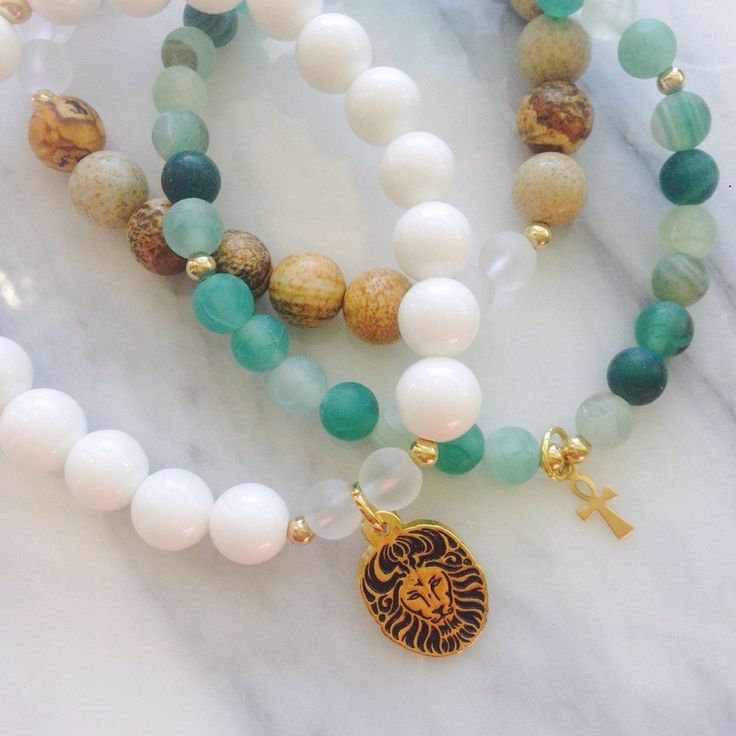 """Beautiful Picture Jasper and Agate """"Sea Goddess Reflection"""" Lionheart Bracelet Stack by #MikaMalaPride. Feel a sense of balance and growth come from healing reflection in communion with mother earths wisdom."""