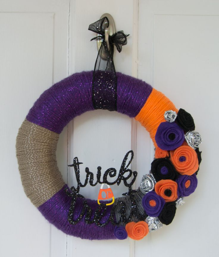 """10"""" Halloween Purple, Orange, Grey and Black Wrapped Wreath with Felt Flowers Glitter Embellishment Trick Or Treat by TheQuillery on Etsy"""