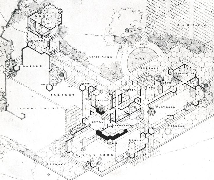 2745 best images about frank lloyd wright on pinterest for Honeycomb house floor plan
