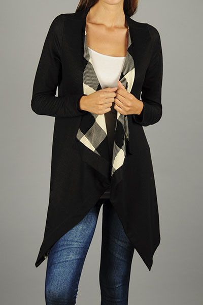 Long Black/White Check Cardi. Available at Miss Modern Boutique