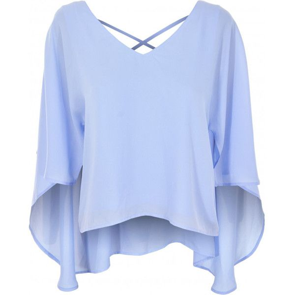 Jovonna London Cross Wire Powder Blue V Neck Top ($20) ❤ liked on Polyvore featuring tops, v-neck top, criss cross back top, v neck top, blue top and jovonna