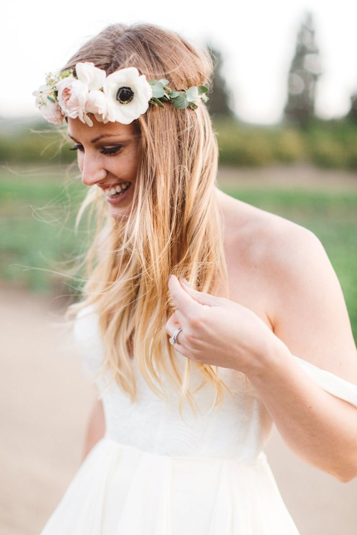 Anemone bohemian flower crown: Photography: Anna Delores Photography - annadelores.com   Read More on SMP: http://www.stylemepretty.com/california-weddings/moorpark-california/2016/09/13/rustic-bohemian-wedding-in-california/