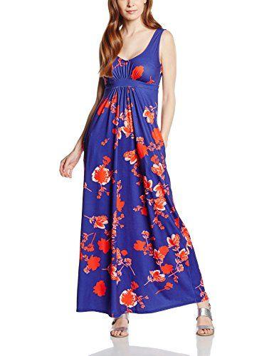 d877efb83ea Hot Squash Women s Empire Line Maxi Dress Blue (Red Flowers) 12 ...