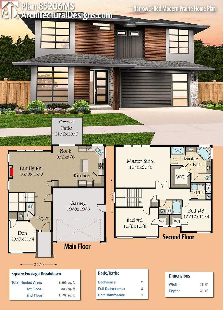 Plan 85206MS Narrow 3 Bed Modern Prairie Home