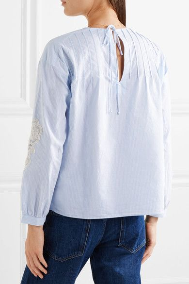 M.i.h Jeans - Veron Crochet-trimmed Striped Cotton-poplin Blouse - Blue