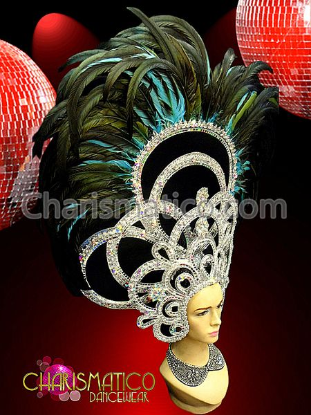Charismatico Dancewear Store - CHARISMATICO Silver Mirrored and Crystal studded Blue and Black Feathered Headdress, $180.00 (http://www.charismatico-dancewear.com/products/CHARISMATICO-Silver-Mirrored-and-Crystal-studded-Blue-and-Black-Feathered-Headdress.html)
