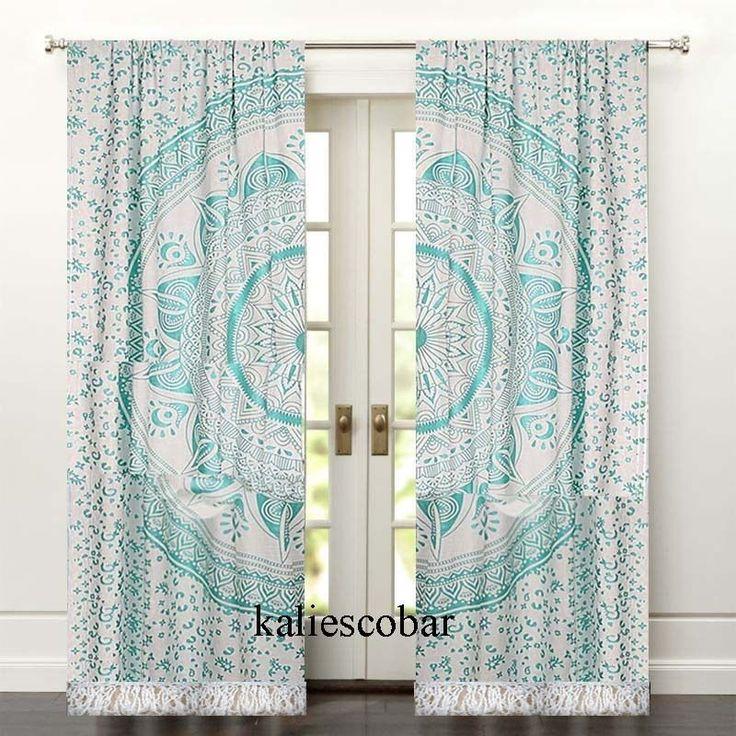 Mandala Cotton Kitchen Window Curtains Drape Panel Sheer Valance With Tassel USA #Unbranded #Traditional