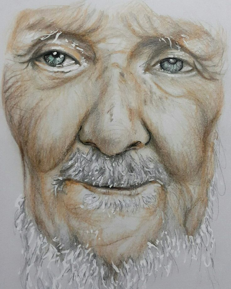 An old man in colored pencil