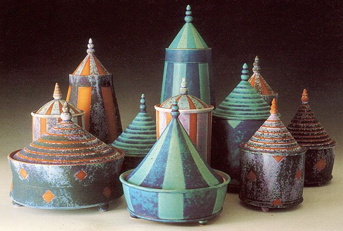 Emily Myers. Group of lidded tent pots: 1997