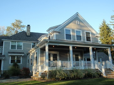 Nantucket Style House with Grey Shingles & White Trim - George Clemens Architecture, LLC