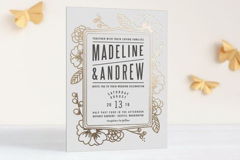 Modern Botanicals Foil-Pressed Wedding Invitations by natalie nakai at minted.com