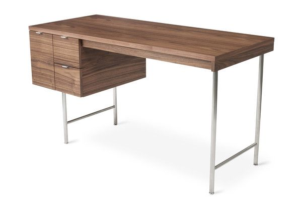 The Conrad Desk is a compact home office desk with a strong Mid-Century pedigree. All surfaces are finished in walnut, to contrast the slender, tubular stainless steel legs and brushed aluminum drawer