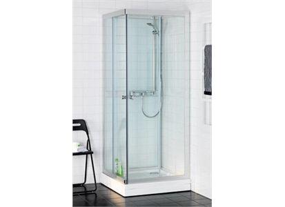 Hafa Polaris Square dusjkabinett 800x800 mm, Sølv/klarglass